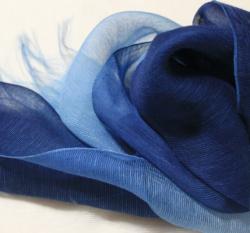 絹スカーフ藍染